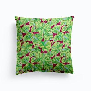 Green Monstera Cushion