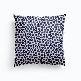 Navy Dots Canvas Cushion