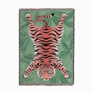 Tiger Flat Pink on Green Woven Throw