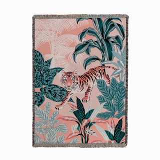 Tiger Jungle Pink and Blue Woven Throw