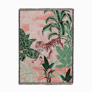 Tiger Jungle Pink and Green Woven Throw