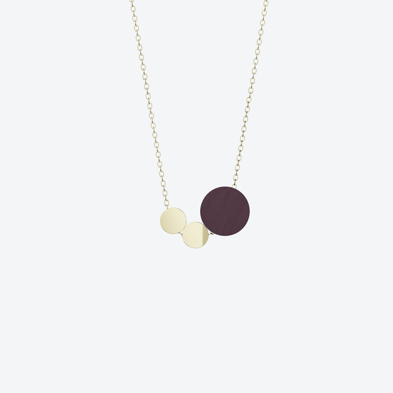 Syntaks Necklace in Plum Wood & Brass/Gold