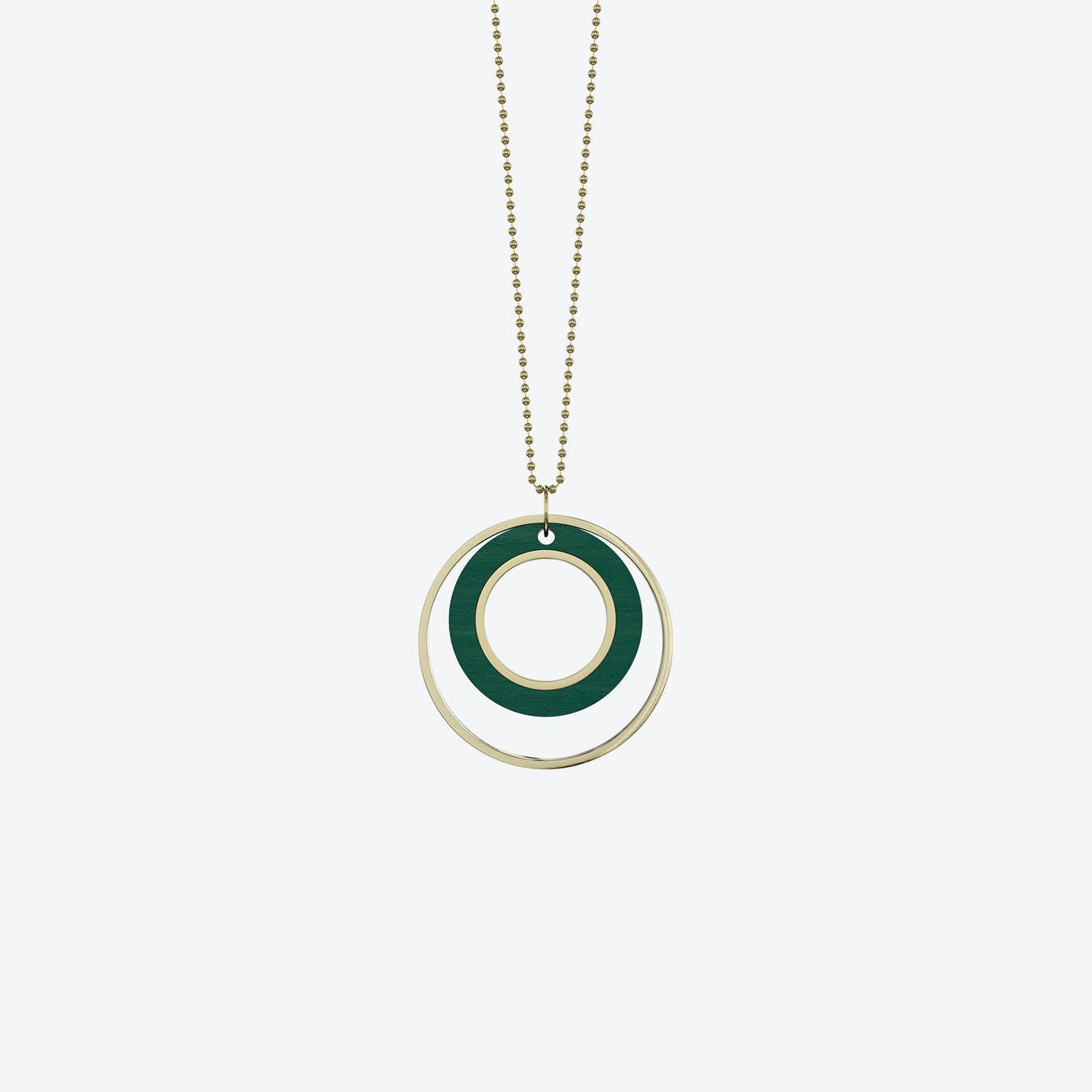 Tempus Necklace in Green Wood & Brass/Gold