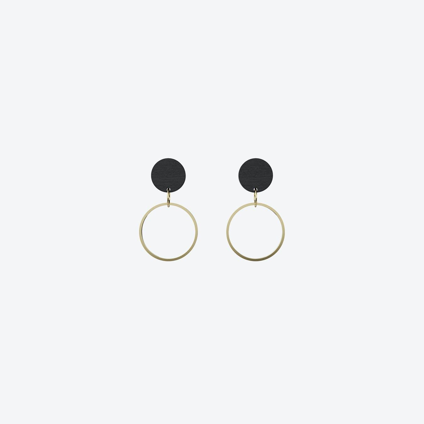 Substantiv Earrings in Black Wood & Gold