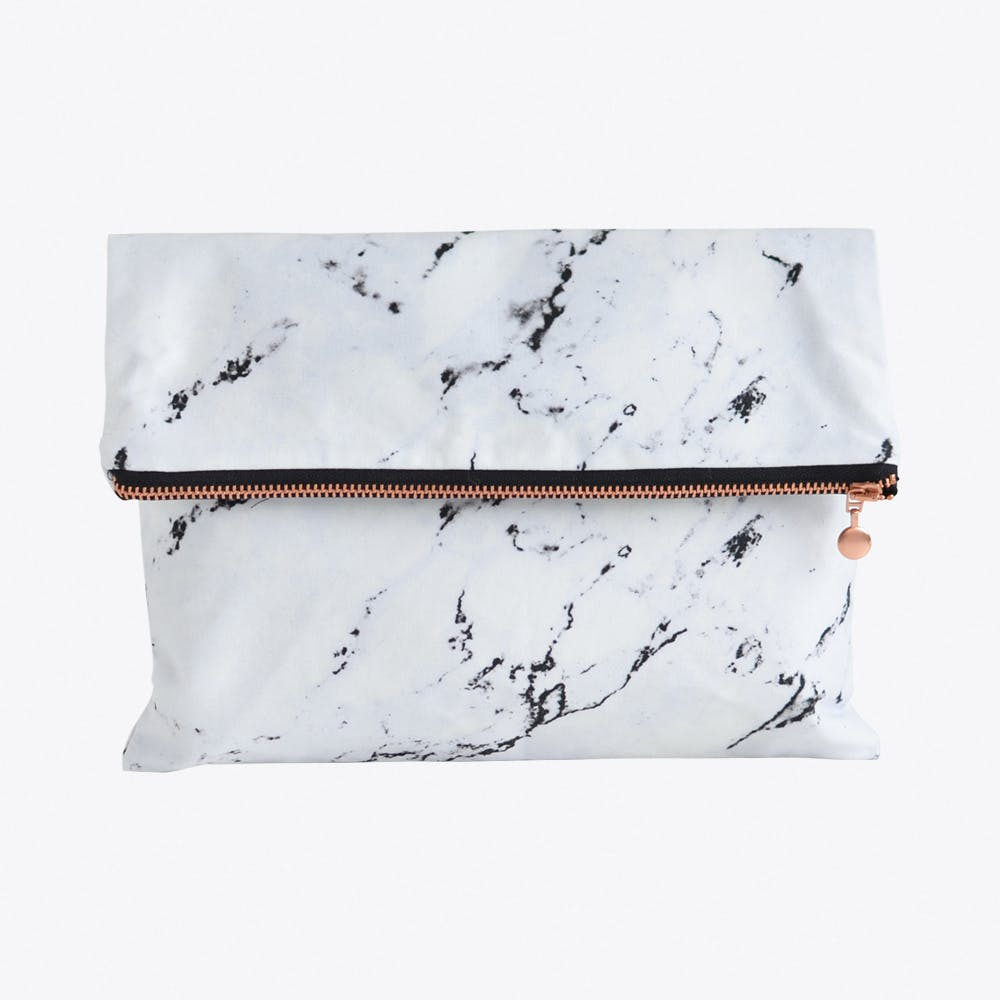 Marble Clutch in White