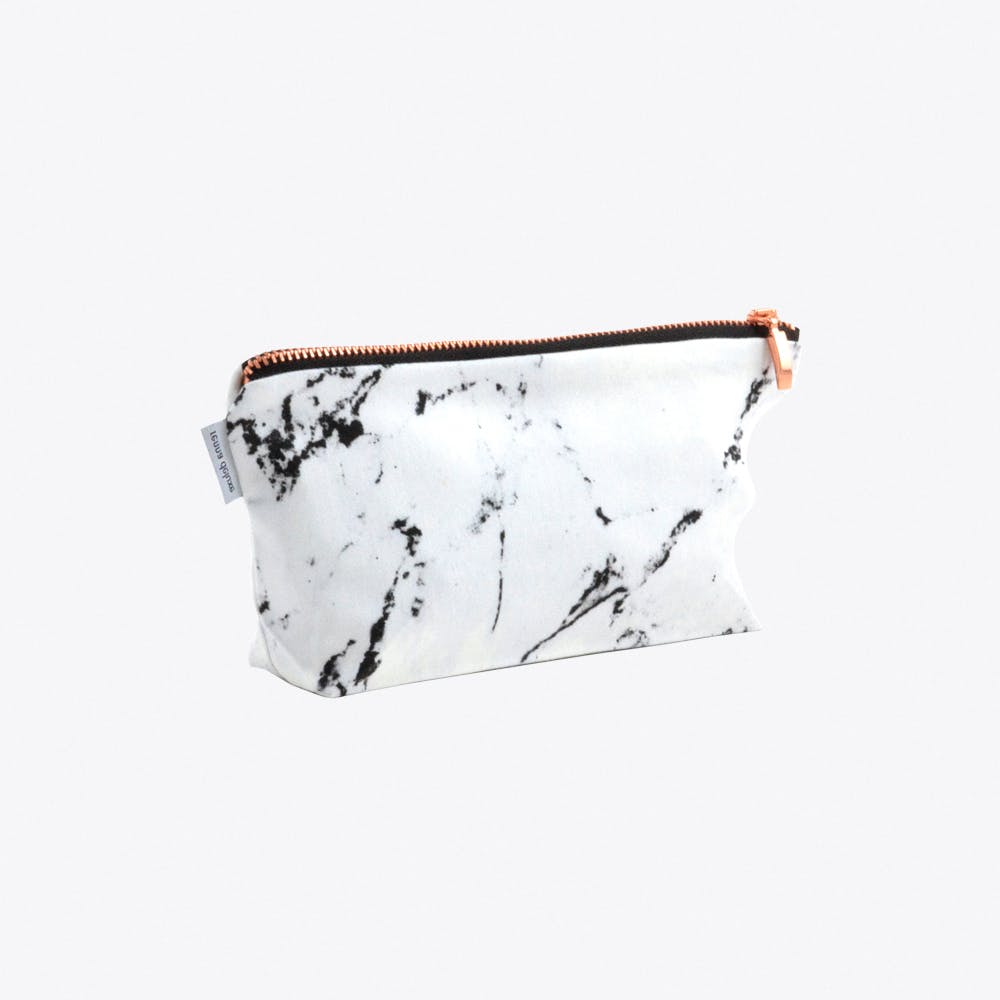 Marble Makeup Bag in White