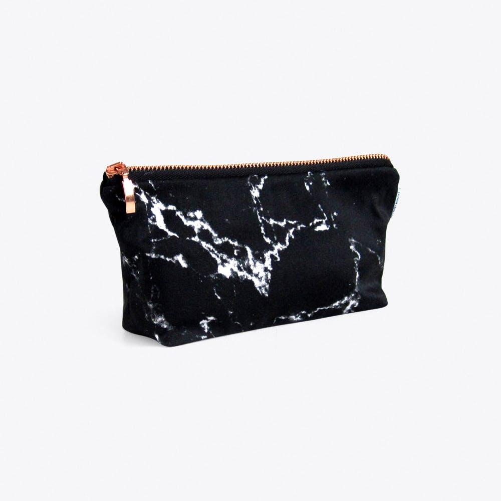 Marble Makeup Bag in Black