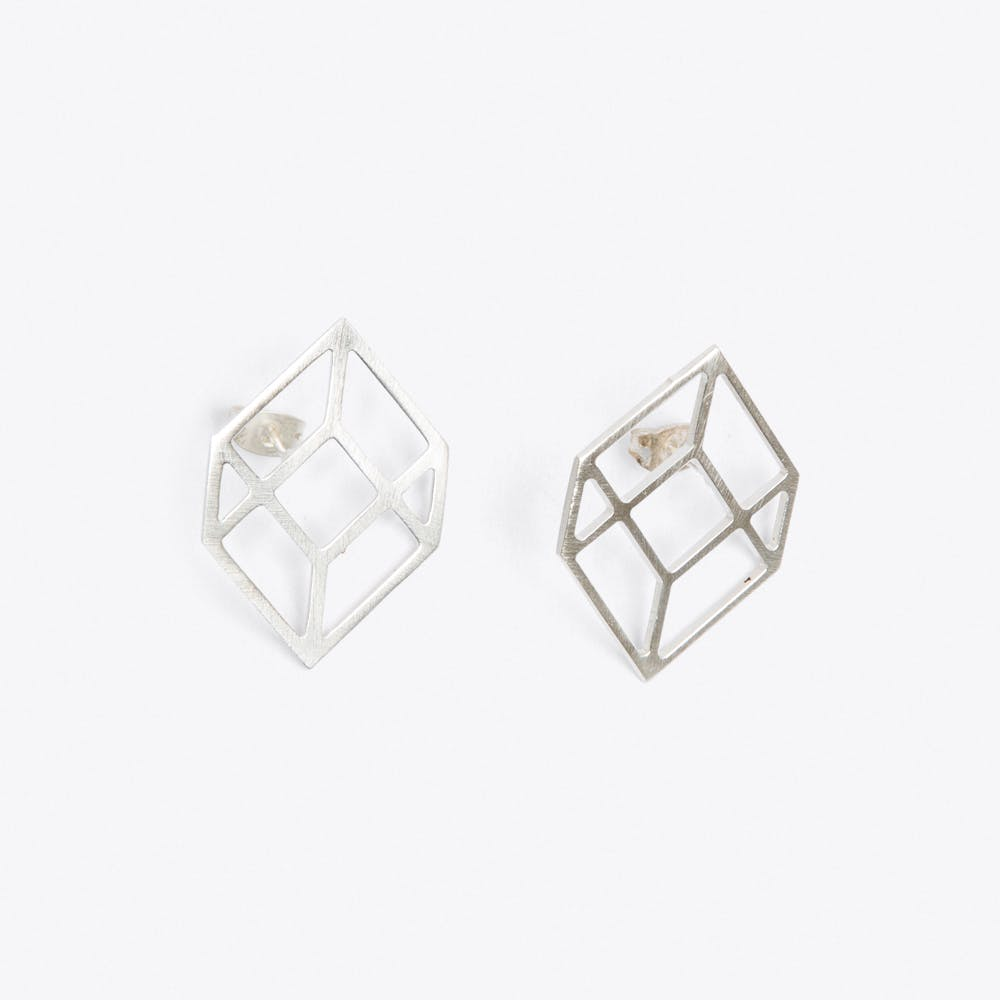 Cube Earrings in Silver