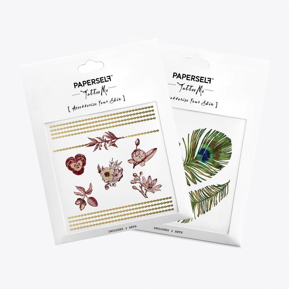 Feather and Flower Temporary Tattoos