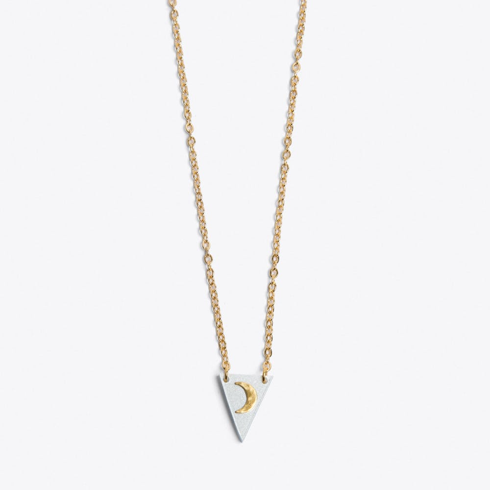 Tiny Moon Necklace in White