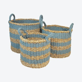 Ula Stripe Baskets - Blue - Set of 3