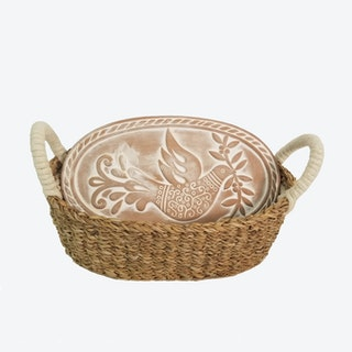 Bread Warmer and Oval Basket - Bird - Natural