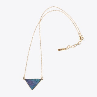 Rainbow Stone Triangle Necklace In Gold
