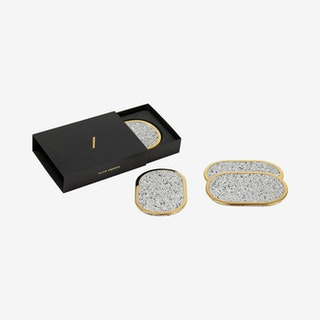 Ring Coasters - Grey - Rubber & Brass - Set of 4