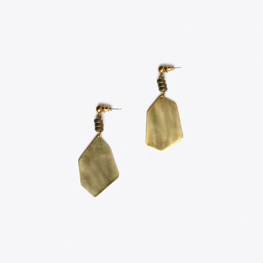 Fragment Earrings in Brass