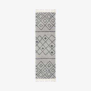 Diamond Shag Runner Rug - Grey - Geometric
