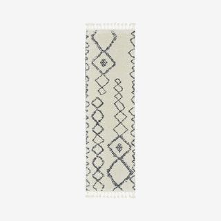 Diamond Shag Runner Rug - Ivory / Grey