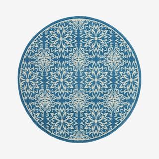 Jubilant Round Rug - Blue - Floral