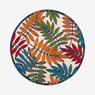 Aloha Round Rug - Multicoloured - Leaves