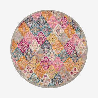 Passion Round Rug - Multicoloured - Damask