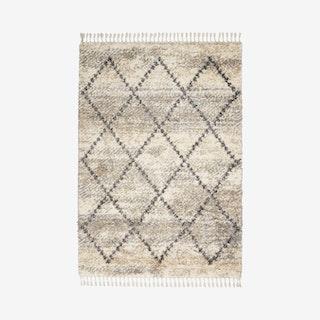 Scandinavian Shag Area Rug - Ivory / Grey - Lattice
