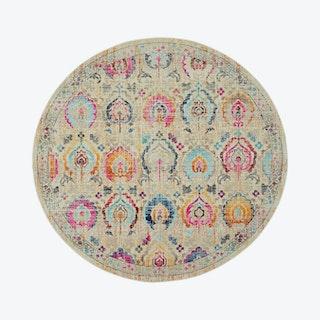 Vintage Kashan Round Rug - Multicoloured