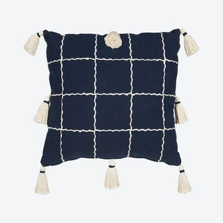 """""""Mina Victory Lifestyles"""" Woven Check with Tassel Throw Pillow - Navy"""