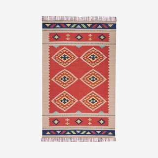 Baja Area Rug - Red / Taupe