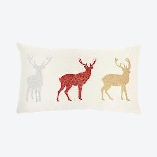 """Mina Victory Christmas Pillows"" Rhinestone Reindeer Throw Pillow - Red"