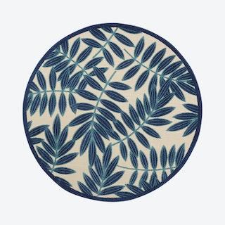 Aloha Round Rug - Navy / White