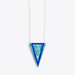 Resin Triangle Necklace in Silver
