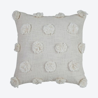 Mia Pom Pom Cushion Cover - Natural / Off White