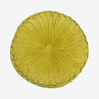 Velvet Round Cushion - Gold Yellow