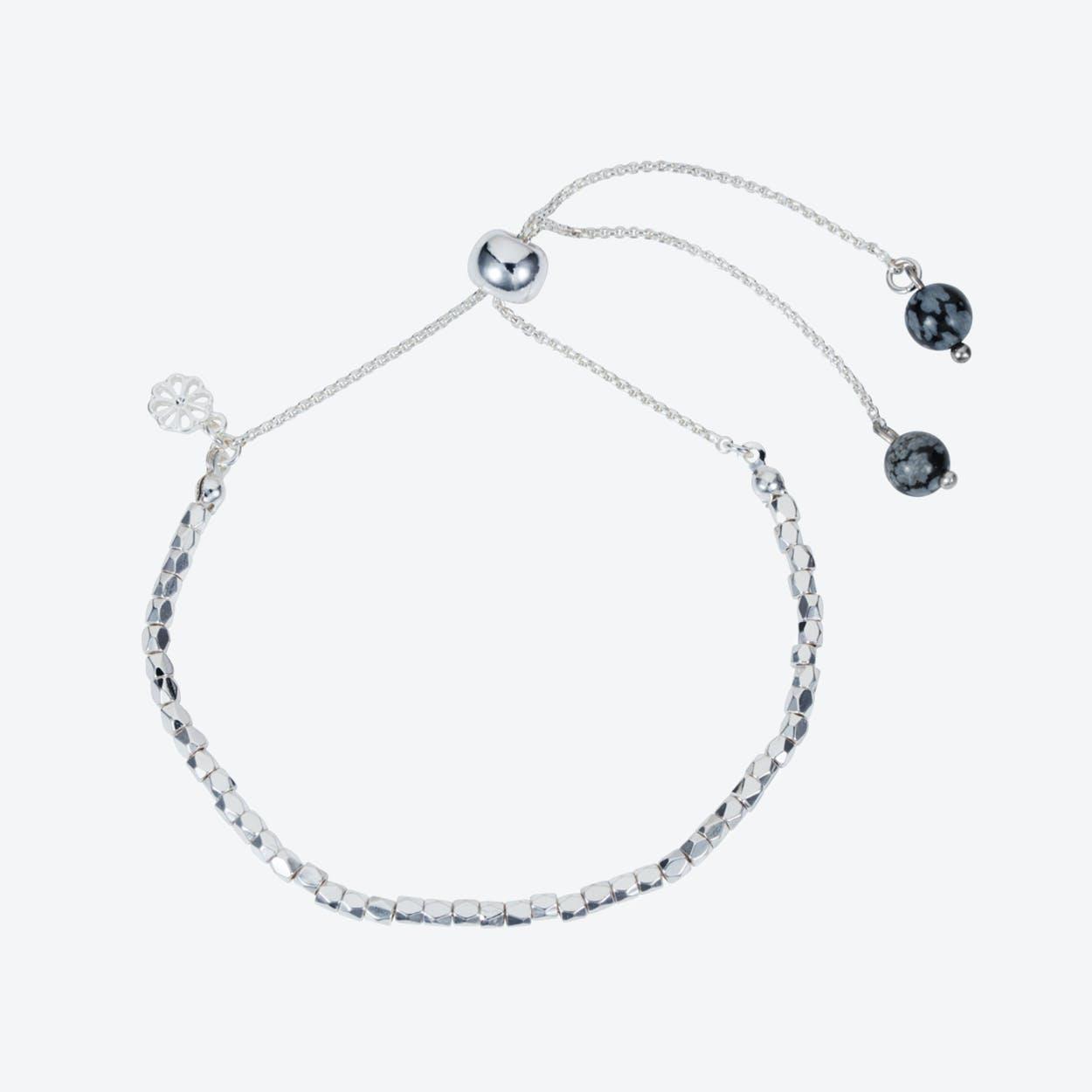 Friendship Bracelet – Silver with Snowflake Obsidian