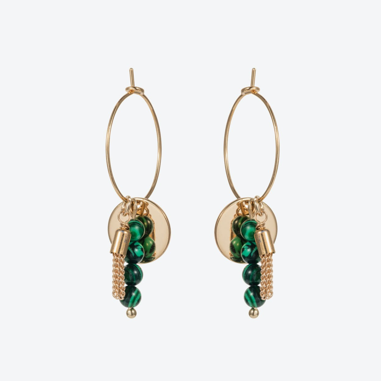 Hoop Semi-Precious Cluster Earrings – Gold with Malachite