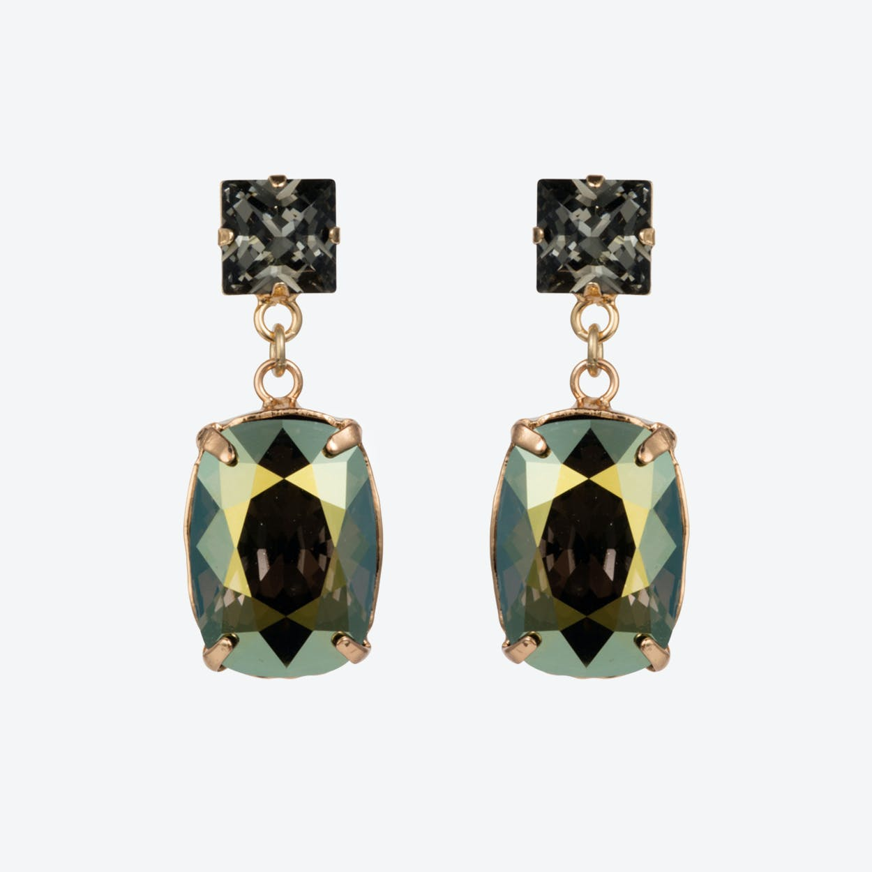 Rectangular Drop Stone Earrings Iridescent Green