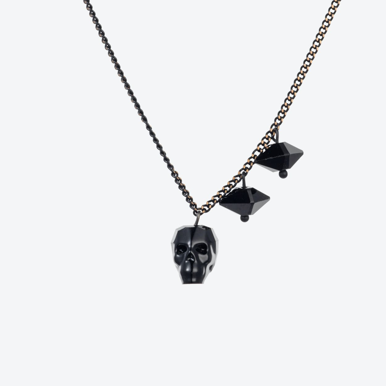 Crystal Skull & Double Spike Necklace – Jet
