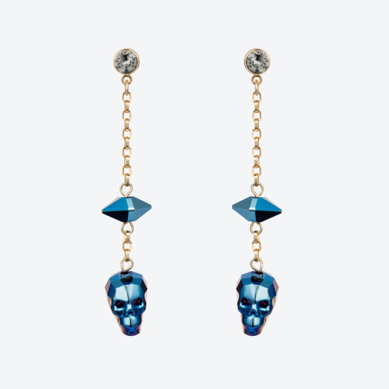 Crystal Skull & Spike Earrings – Metallica Blue