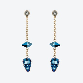 Crystal Skull & Spike Earrings – Metallica Blue