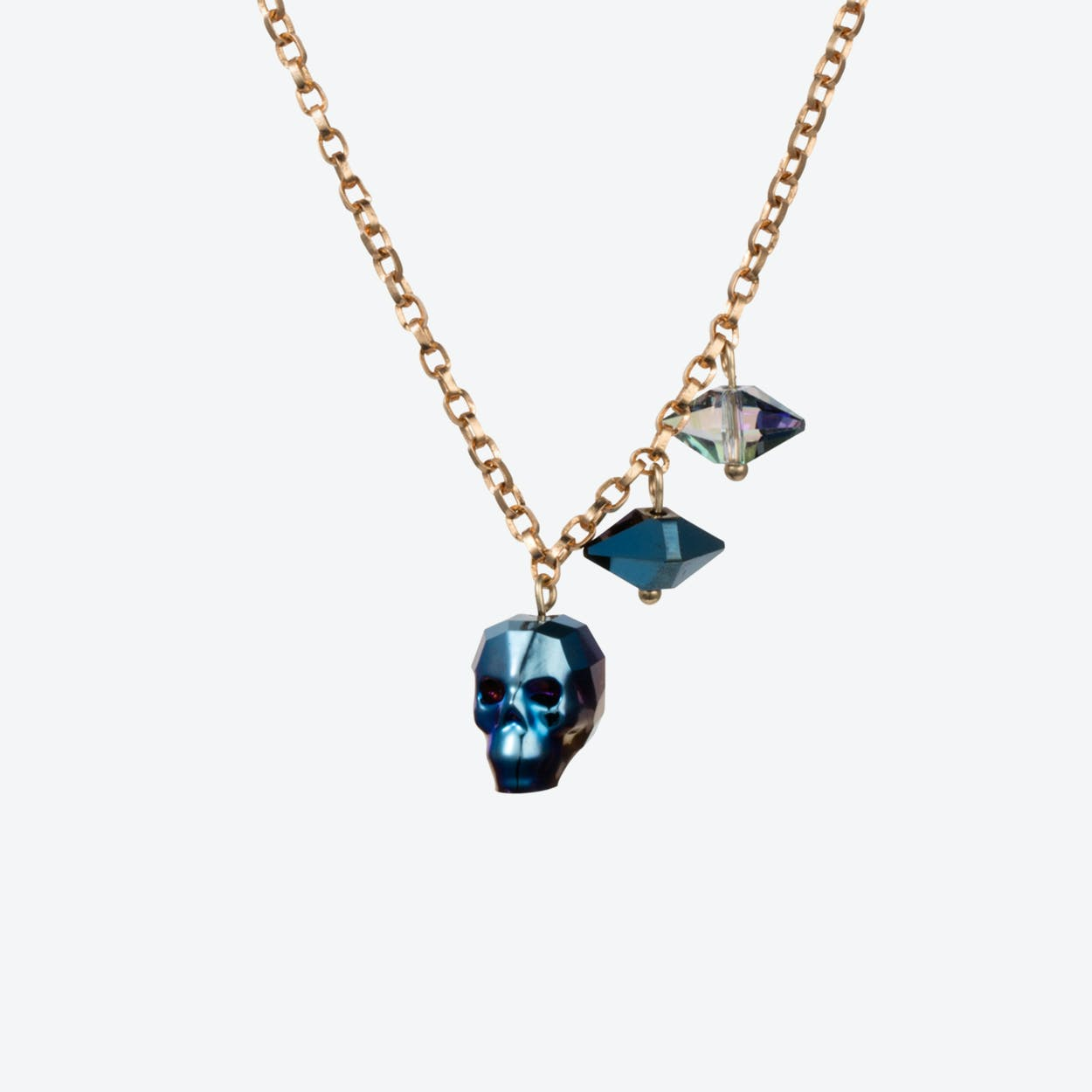 Crystal Skull & Double Spike Necklace – Metallic Blue