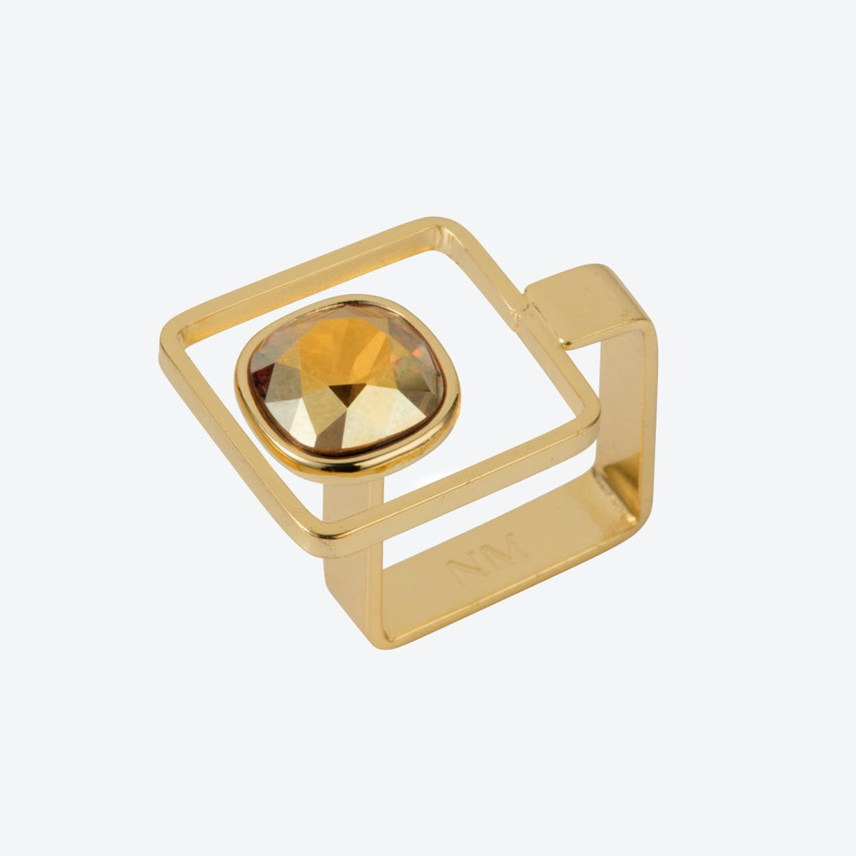 Square Frame Ring – Gold with Golden Shadow