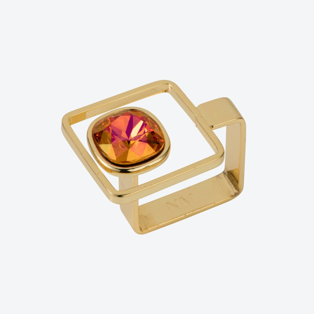 Square Frame Ring – Gold with Magma