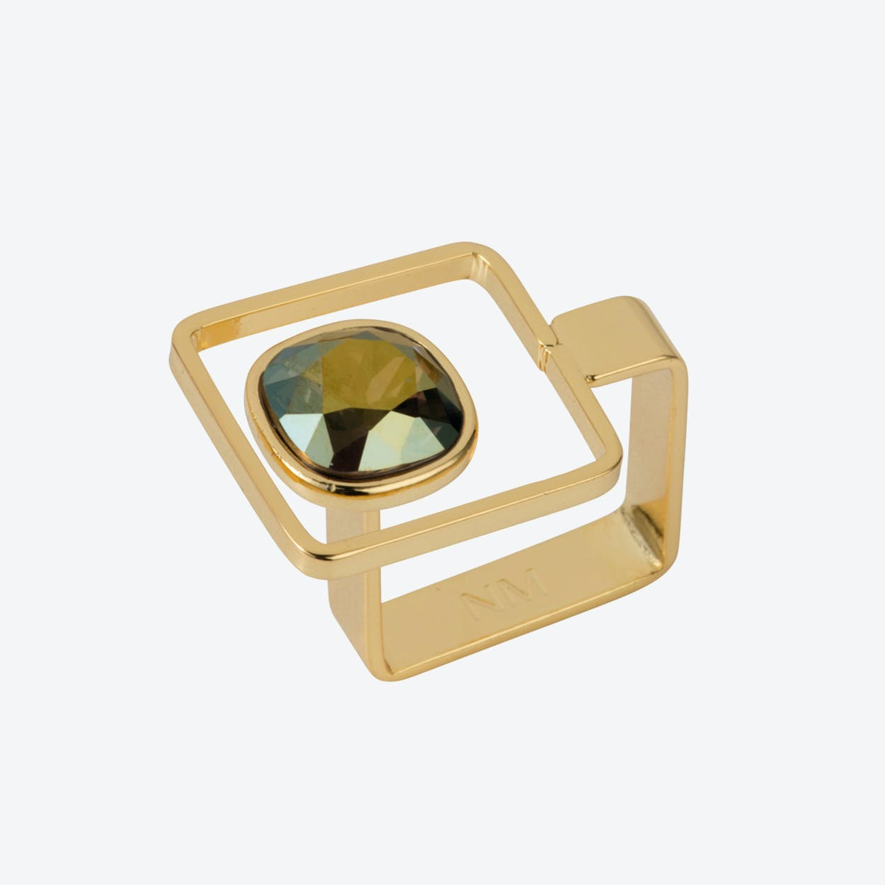 Square Frame Ring – Gold with Iridescent Green