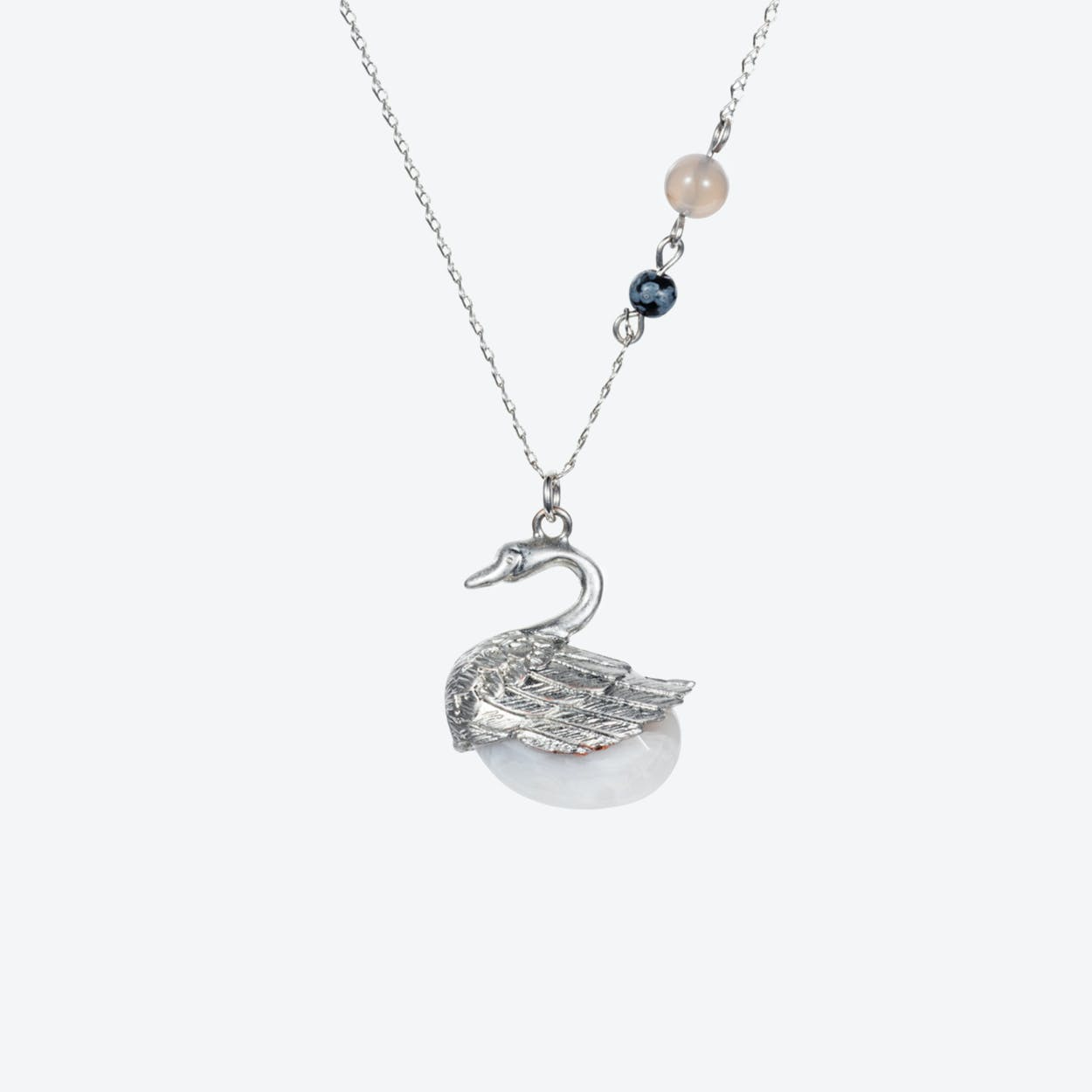 Swan Charm Necklace – Silver & Grey Agate