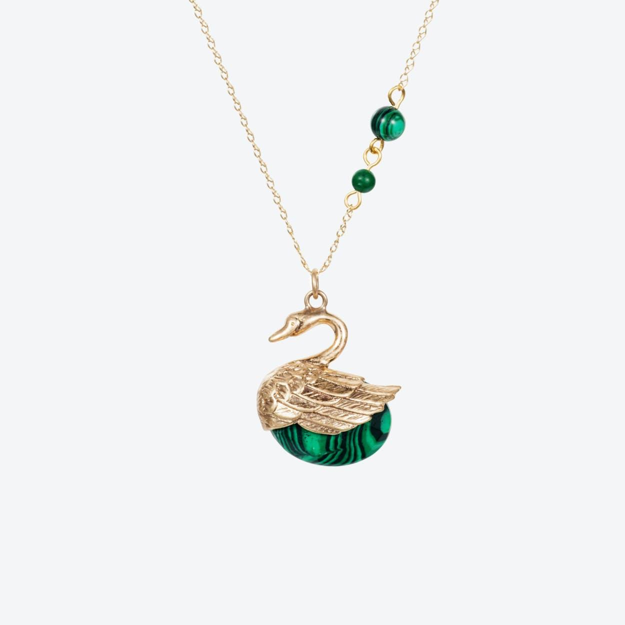 Swan Charm Necklace – Gold & Malachite
