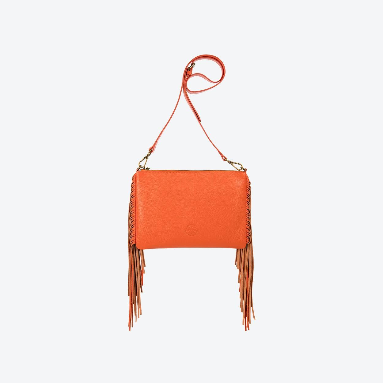 Angel Fringe Crossbody Bag in Orange