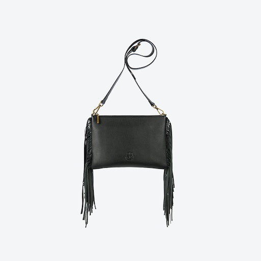 Angel Fringe Crossbody Bag in Black