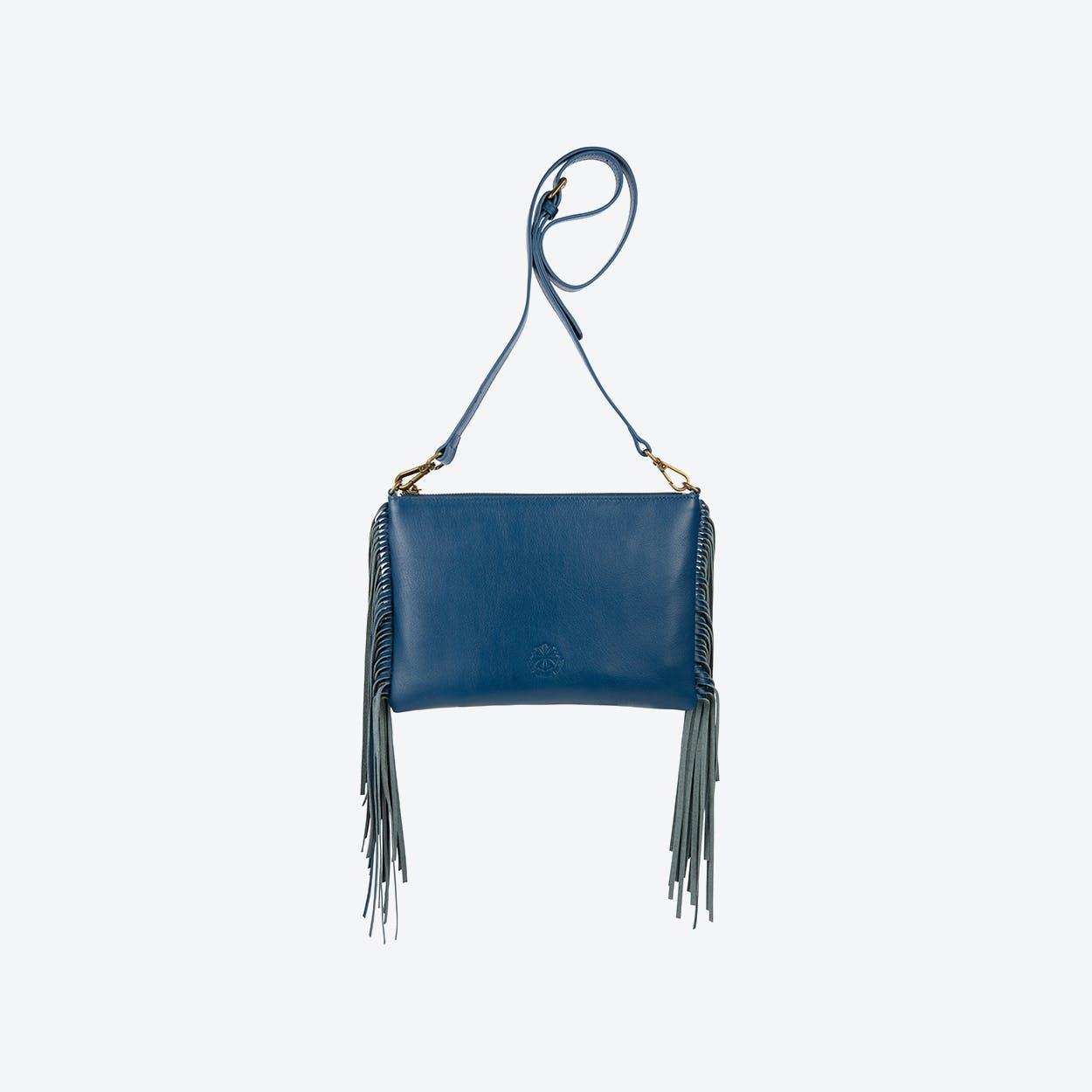 Angel Fringe Crossbody Bag in Blue
