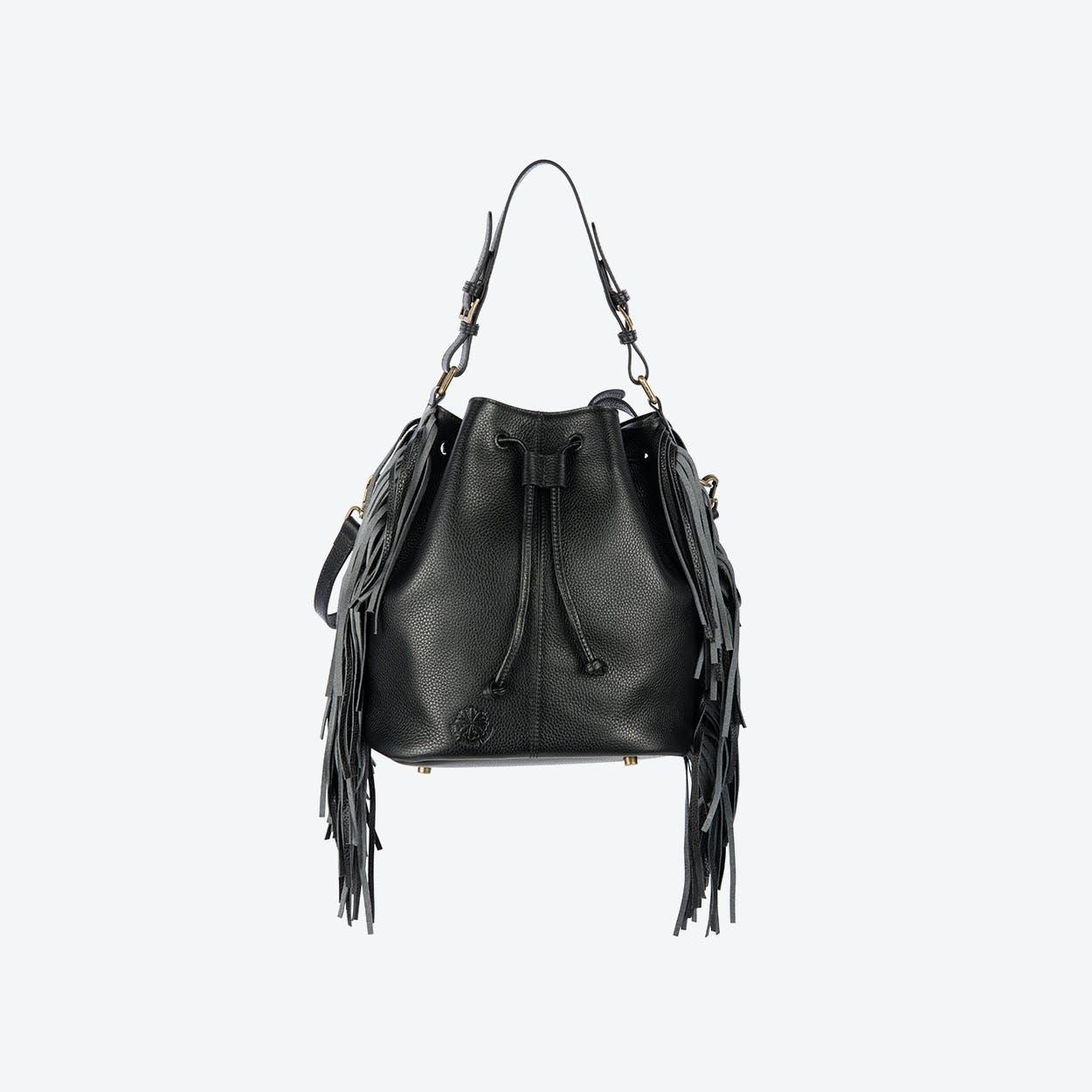 Islington Fringe Shoulder Bag in Black