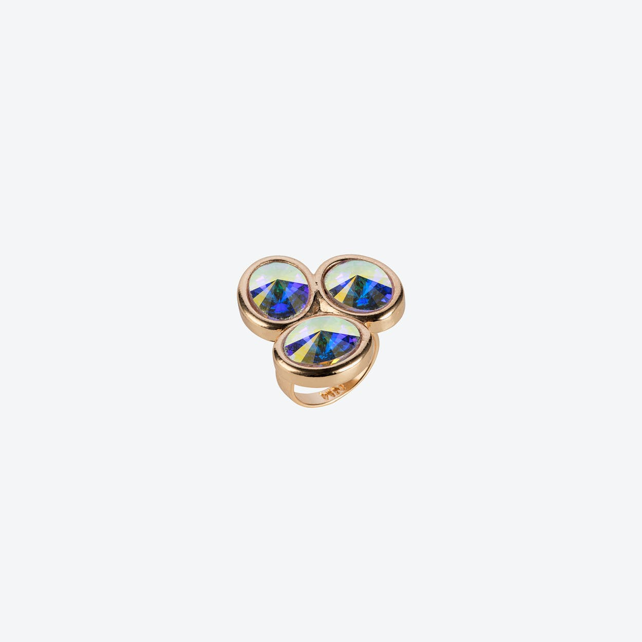 Triple Stone Oval Ring in Gold & Crystal
